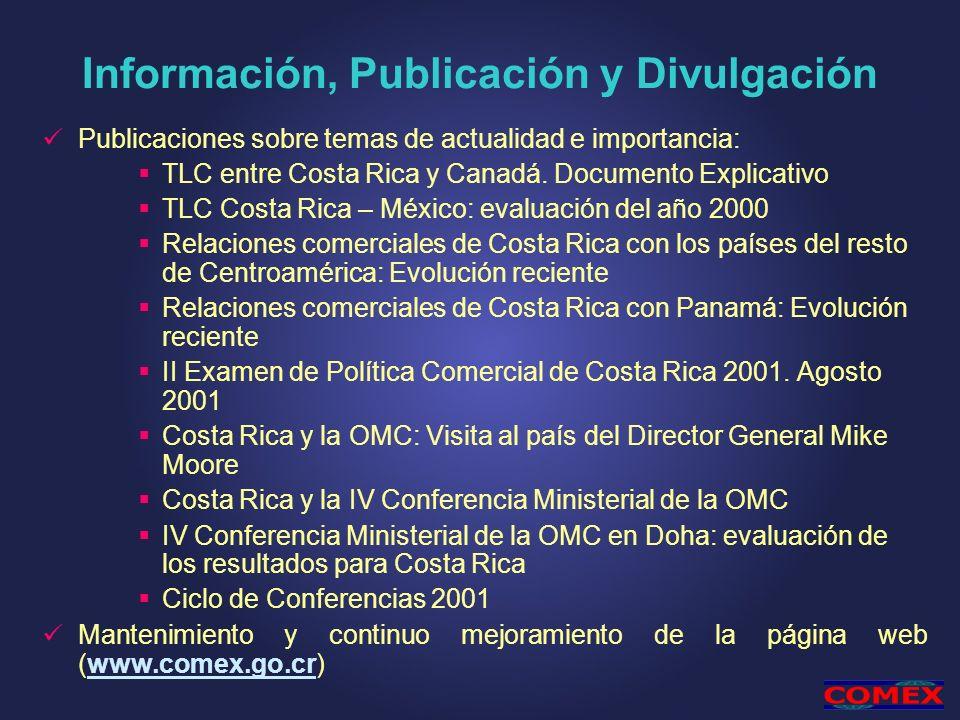 Información, Publicación y Divulgación Publicaciones sobre temas de actualidad e importancia: TLC entre Costa Rica y Canadá. Documento Explicativo TLC