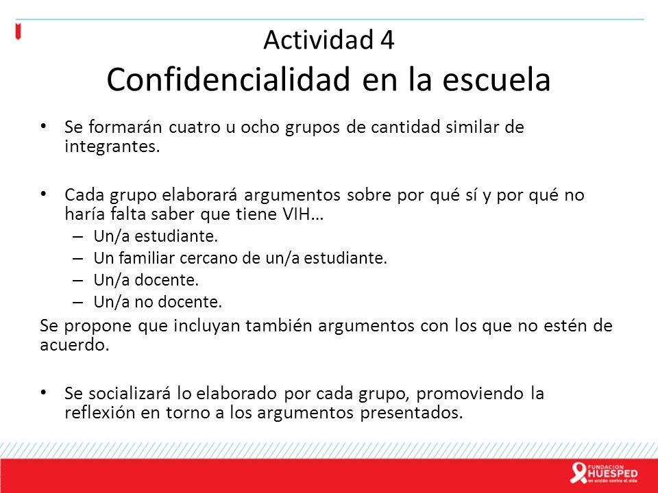 Actividad 4 Confidencialidad en la escuela Se formarán cuatro u ocho grupos de cantidad similar de integrantes. Cada grupo elaborará argumentos sobre