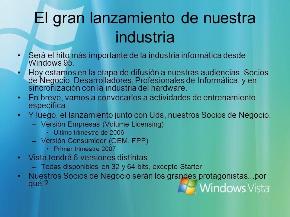 El gran lanzamiento de nuestra industria Será el hito más importante de la industria informática desde Windows 95.