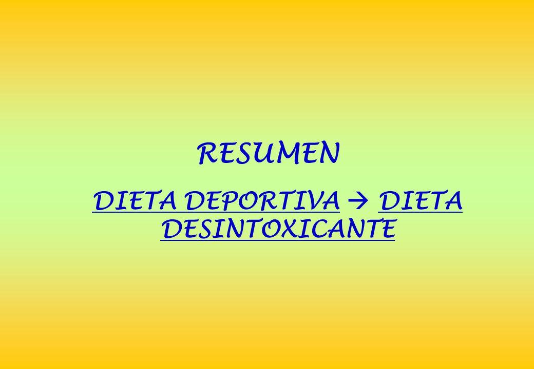 RESUMEN DIETA DEPORTIVA DIETA DESINTOXICANTE