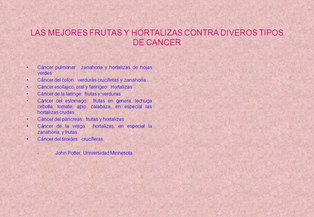 LAS MEJORES FRUTAS Y HORTALIZAS CONTRA DIVEROS TIPOS DE CANCER Cáncer pulmonar: zanahoria y hortalizas de hojas verdes Cáncer del colon: verduras cruc