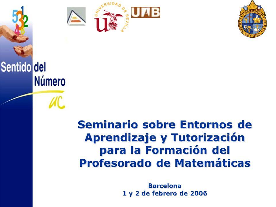 Seminario sobre Entornos de Aprendizaje y Tutorización para la Formación del Profesorado de Matemáticas Barcelona 1 y 2 de febrero de 2006