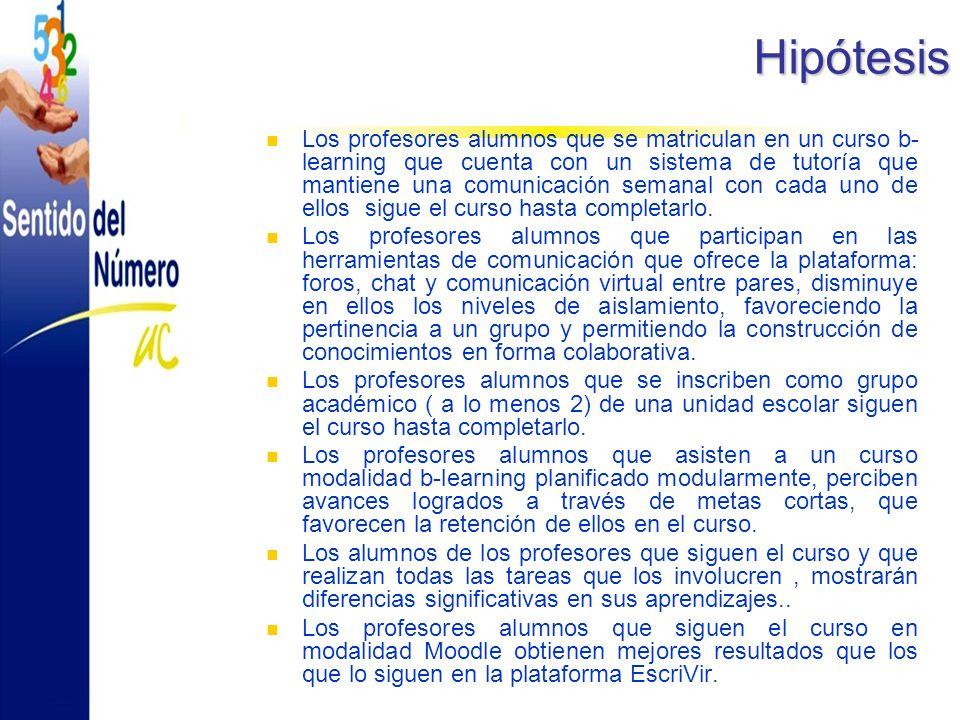 Hipótesis Los profesores alumnos que se matriculan en un curso b- learning que cuenta con un sistema de tutoría que mantiene una comunicación semanal con cada uno de ellos sigue el curso hasta completarlo.