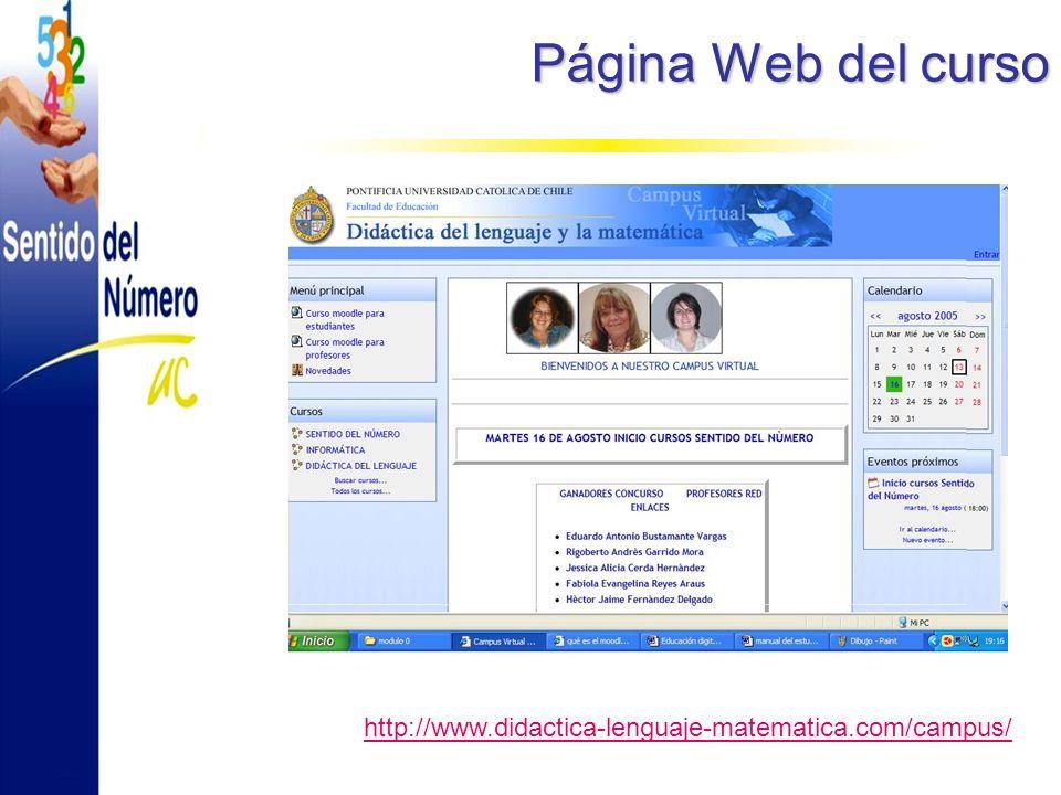 Página Web del curso http://www.didactica-lenguaje-matematica.com/campus/