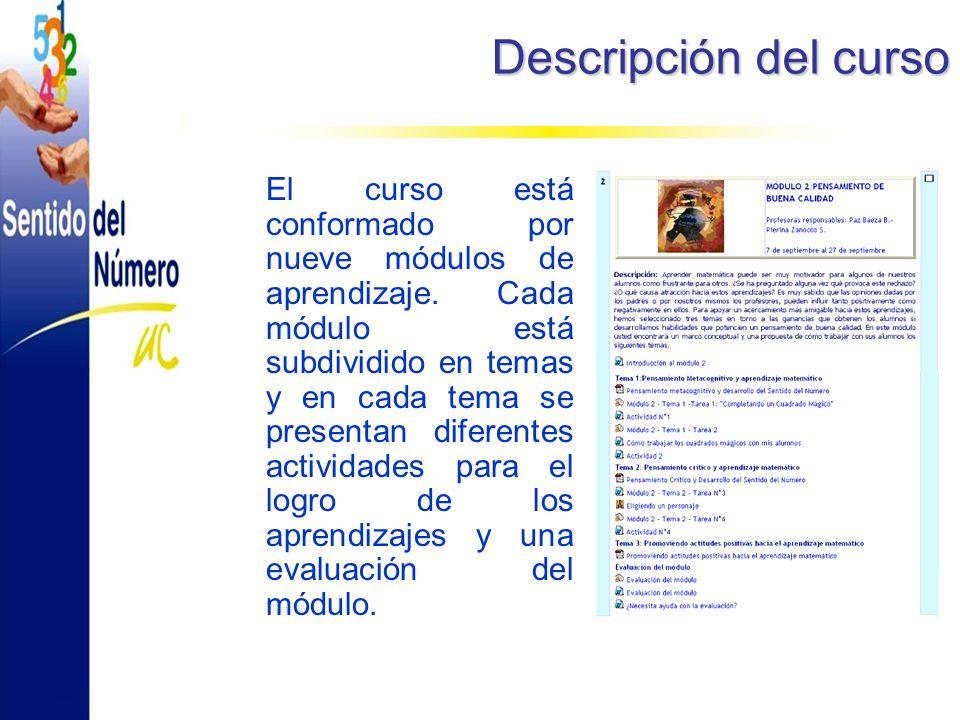 Descripción del curso El curso está conformado por nueve módulos de aprendizaje.