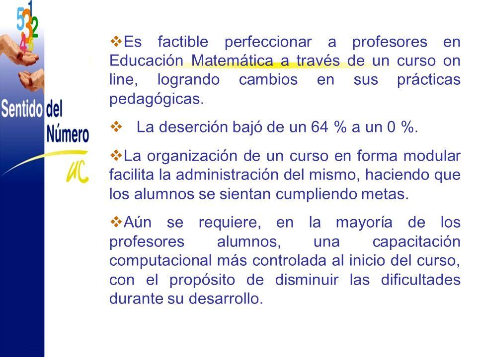 Es factible perfeccionar a profesores en Educación Matemática a través de un curso on line, logrando cambios en sus prácticas pedagógicas.