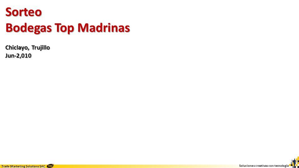 Soluciones creativas con tecnología Trade Marketing Solutions SAC Sorteo Bodegas Top Madrinas Chiclayo, Trujillo Jun-2,010 Idea Implementar un sorteo rápido y sencillo para activar las bodegas top (madrinas) y compradores potenciales de dichas bodegas top.