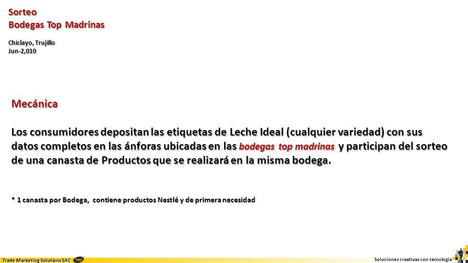 Soluciones creativas con tecnología Trade Marketing Solutions SAC Sorteo Bodegas Top Madrinas Chiclayo, Trujillo Jun-2,010 Soporte Ánforas (1 por punto de venta) Ánforas (1 por punto de venta) Afiches (4 a 5 por bodega madrina) Afiches (4 a 5 por bodega madrina) Banners con parante descriptivo para cada bodega madrina Banners con parante descriptivo para cada bodega madrina Canastas de Productos armadas y depositadas en el Bodegas Madrinas.