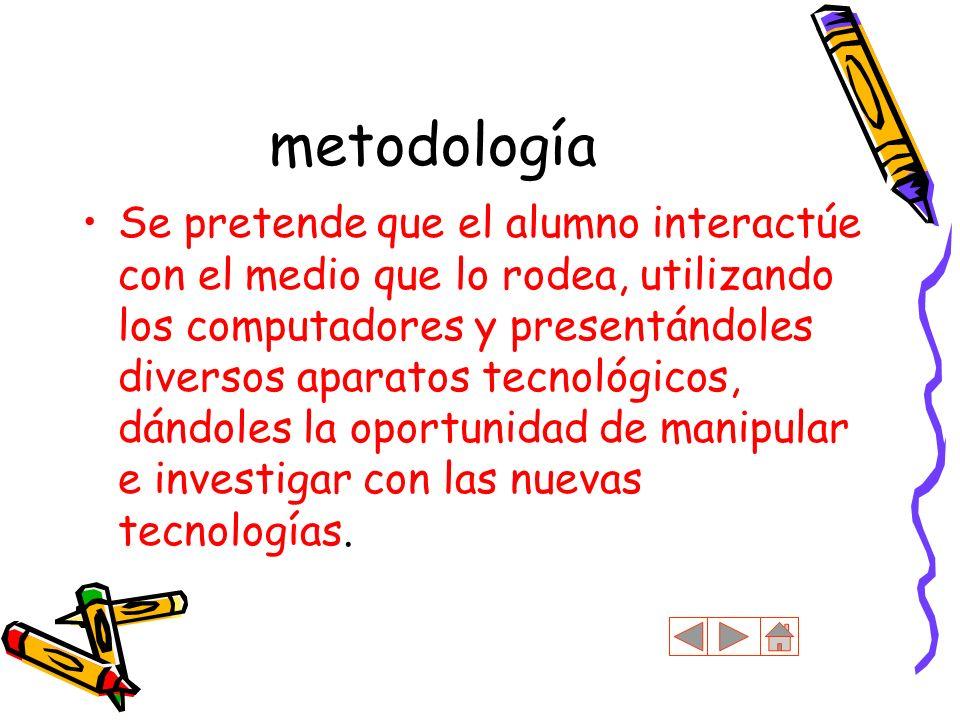 metodología Se pretende que el alumno interactúe con el medio que lo rodea, utilizando los computadores y presentándoles diversos aparatos tecnológico