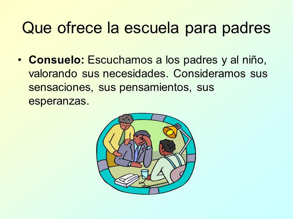 Que ofrece la escuela para padres Consuelo: Escuchamos a los padres y al niño, valorando sus necesidades.