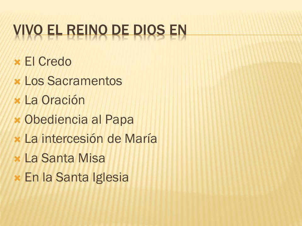 El Credo Los Sacramentos La Oración Obediencia al Papa La intercesión de María La Santa Misa En la Santa Iglesia