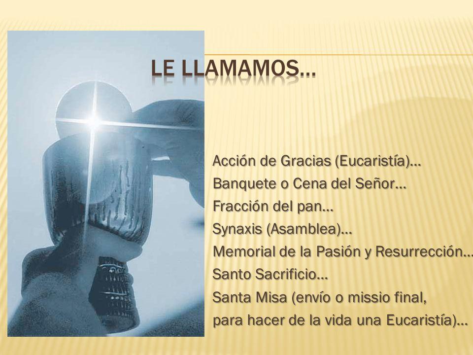 Acción de Gracias (Eucaristía)… Banquete o Cena del Señor… Fracción del pan… Synaxis (Asamblea)… Memorial de la Pasión y Resurrección… Santo Sacrificio… Santa Misa (envío o missio final, para hacer de la vida una Eucaristía)…
