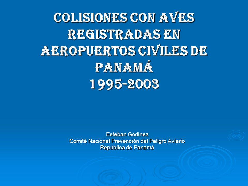 COLISIONES CON AVES REGISTRADAS EN AEROPUERTOS CIVILES DE PANAMÁ 1995-2003 Esteban Godinez Comité Nacional Prevención del Peligro Aviario República de Panamá