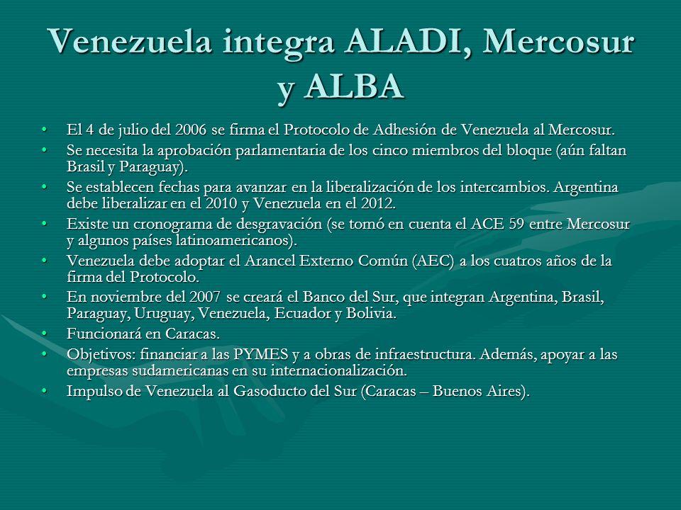 Venezuela integra ALADI, Mercosur y ALBA El 4 de julio del 2006 se firma el Protocolo de Adhesión de Venezuela al Mercosur.El 4 de julio del 2006 se firma el Protocolo de Adhesión de Venezuela al Mercosur.
