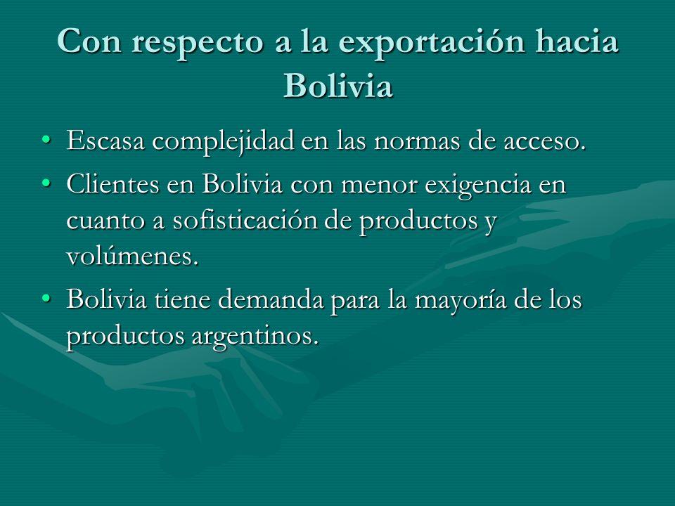 Con respecto a la exportación hacia Bolivia Escasa complejidad en las normas de acceso.Escasa complejidad en las normas de acceso.
