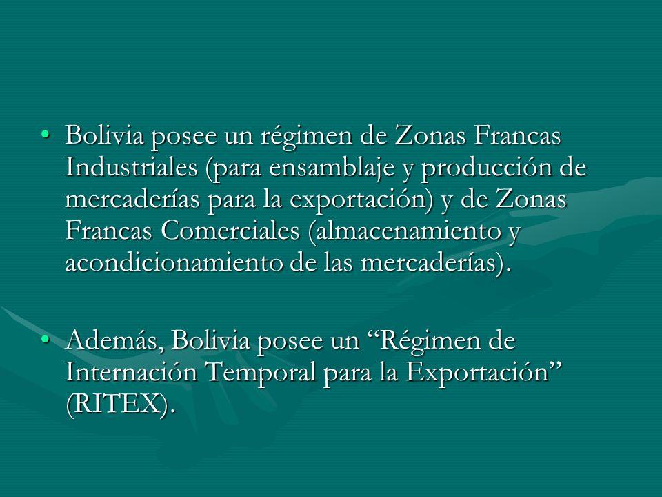 Bolivia posee un régimen de Zonas Francas Industriales (para ensamblaje y producción de mercaderías para la exportación) y de Zonas Francas Comerciales (almacenamiento y acondicionamiento de las mercaderías).Bolivia posee un régimen de Zonas Francas Industriales (para ensamblaje y producción de mercaderías para la exportación) y de Zonas Francas Comerciales (almacenamiento y acondicionamiento de las mercaderías).