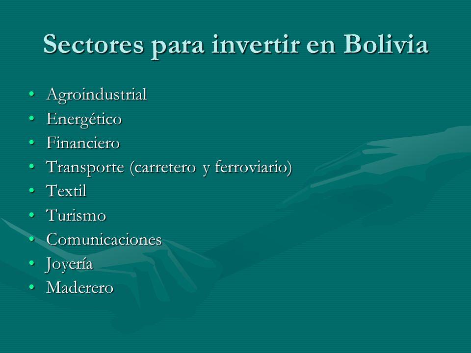 Sectores para invertir en Bolivia AgroindustrialAgroindustrial EnergéticoEnergético FinancieroFinanciero Transporte (carretero y ferroviario)Transporte (carretero y ferroviario) TextilTextil TurismoTurismo ComunicacionesComunicaciones JoyeríaJoyería MadereroMaderero