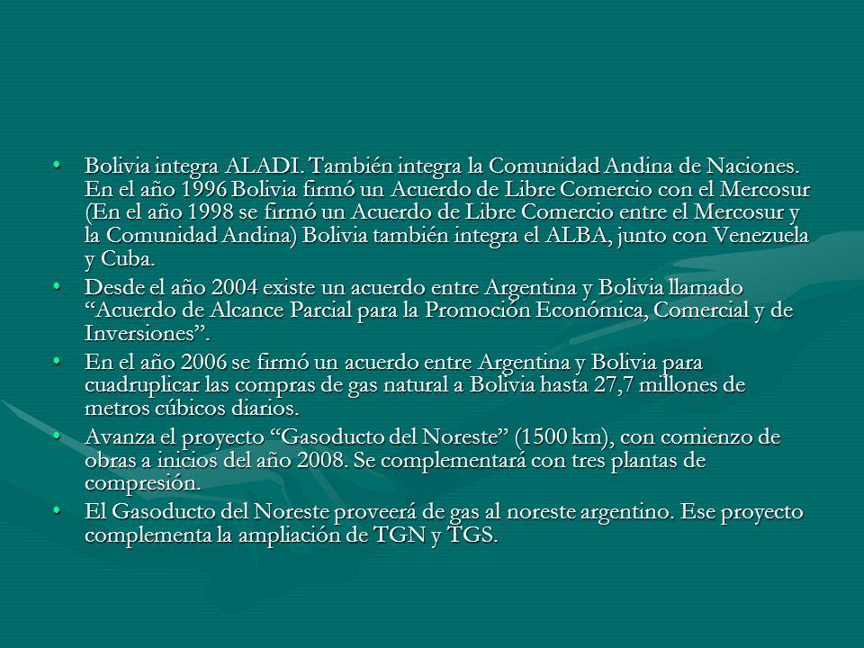 Bolivia integra ALADI.También integra la Comunidad Andina de Naciones.
