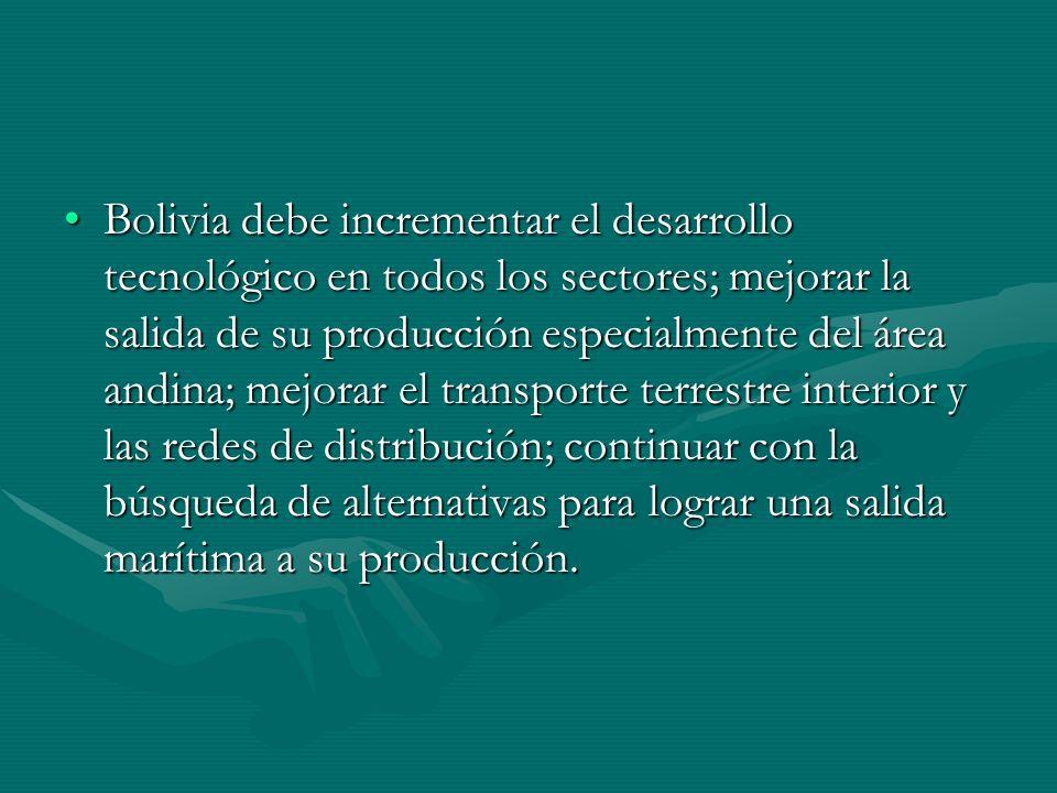 Bolivia debe incrementar el desarrollo tecnológico en todos los sectores; mejorar la salida de su producción especialmente del área andina; mejorar el transporte terrestre interior y las redes de distribución; continuar con la búsqueda de alternativas para lograr una salida marítima a su producción.Bolivia debe incrementar el desarrollo tecnológico en todos los sectores; mejorar la salida de su producción especialmente del área andina; mejorar el transporte terrestre interior y las redes de distribución; continuar con la búsqueda de alternativas para lograr una salida marítima a su producción.