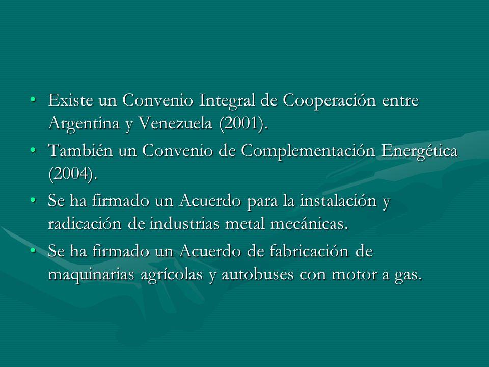 Existe un Convenio Integral de Cooperación entre Argentina y Venezuela (2001).Existe un Convenio Integral de Cooperación entre Argentina y Venezuela (2001).