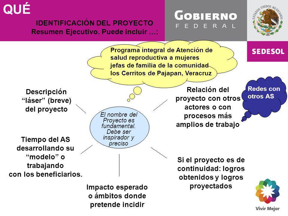 QUÉ Descripción láser (breve) del proyecto El nombre del Proyecto es fundamental. Debe ser inspirador y preciso IDENTIFICACIÓN DEL PROYECTO Resumen Ej