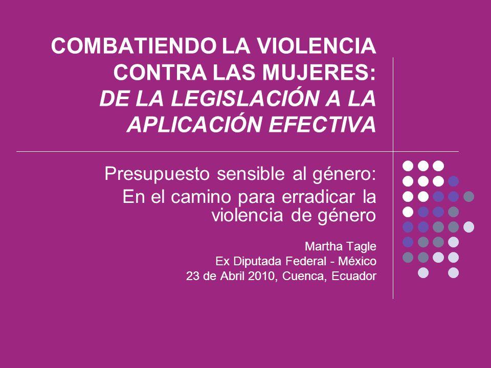 COMBATIENDO LA VIOLENCIA CONTRA LAS MUJERES: DE LA LEGISLACIÓN A LA APLICACIÓN EFECTIVA Presupuesto sensible al género: En el camino para erradicar la