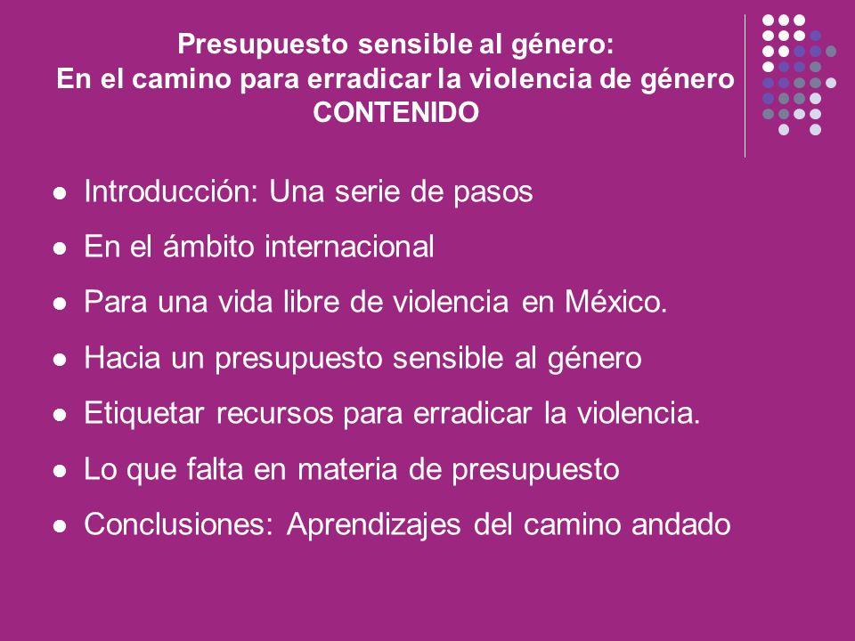 Presupuesto sensible al género: En el camino para erradicar la violencia de género CONTENIDO Introducción: Una serie de pasos En el ámbito internacion