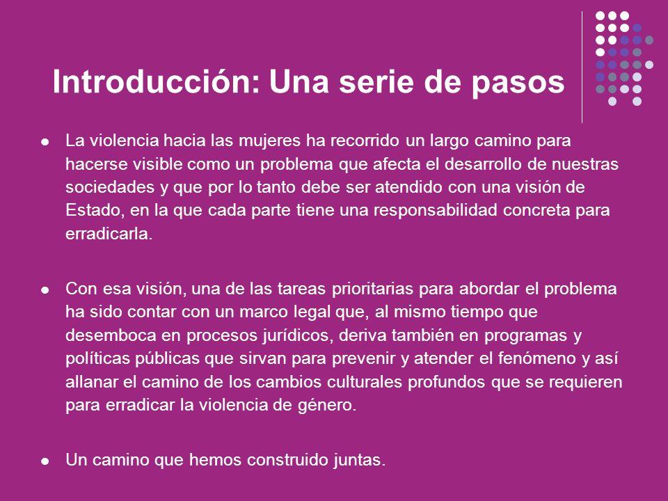 Pasos en el ámbito internacional Por el activismo decidido de muchas mujeres en el mundo y particularmente en América Latina, contamos con un marco legal que se refleja en acuerdos y tratados internacionales como: Convención sobre la eliminación de todas las formas de Discriminación contra la Mujer (CEDAW), Convención Interamericana para Prevenir, Sancionar y Erradicar la Violencia contra la Mujer (Convención de Belem Do Para) Mecanismos como la Comisión Interamericana de Derechos Humanos (CIDH).