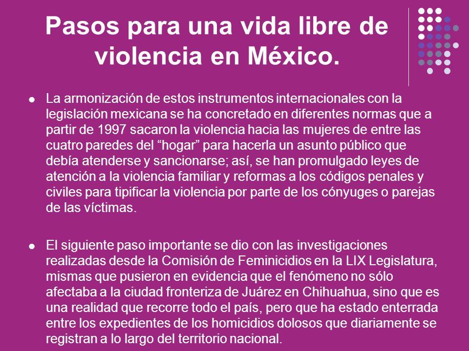 Pasos para una vida libre de violencia en México. La armonización de estos instrumentos internacionales con la legislación mexicana se ha concretado e