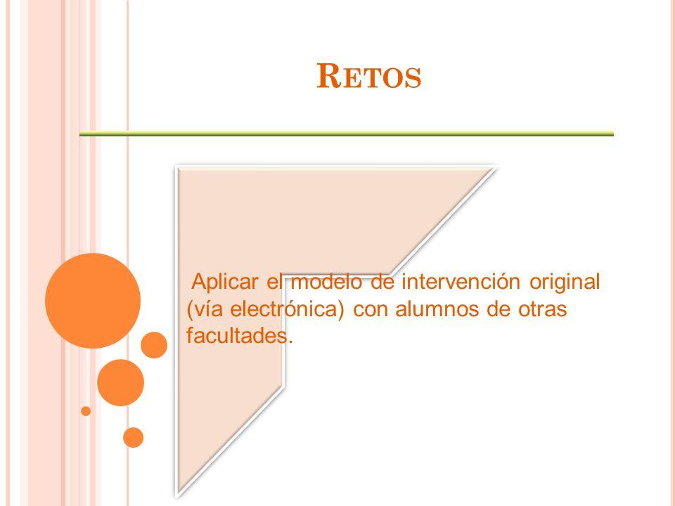 R ETOS Aplicar el modelo de intervención original (vía electrónica) con alumnos de otras facultades.