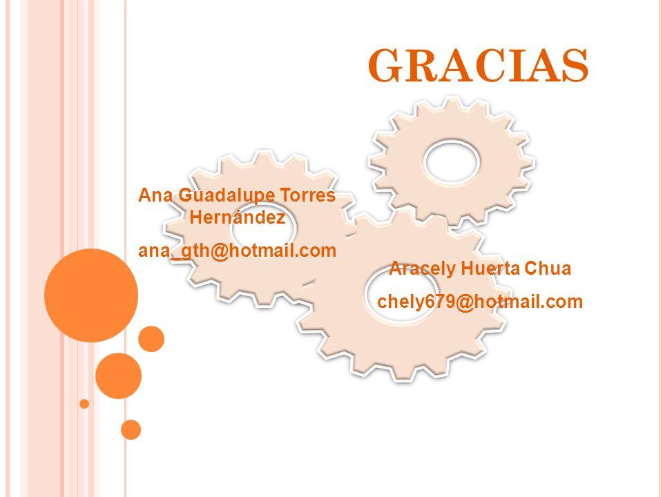 GRACIAS Ana Guadalupe Torres Hernández ana_gth@hotmail.com Aracely Huerta Chua chely679@hotmail.com