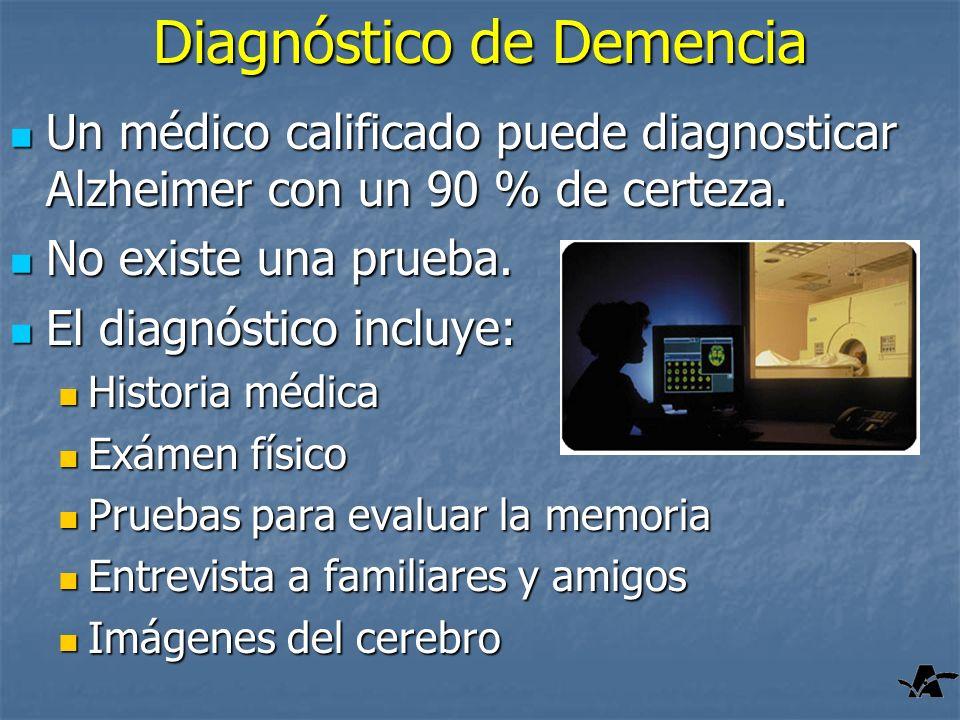 Diagnóstico de Demencia Un médico calificado puede diagnosticar Alzheimer con un 90 % de certeza. Un médico calificado puede diagnosticar Alzheimer co