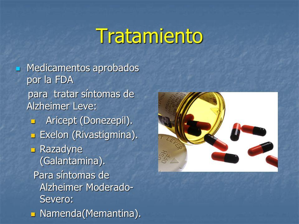 Tratamiento Medicamentos aprobados por la FDA Medicamentos aprobados por la FDA para tratar síntomas de Alzheimer Leve: para tratar síntomas de Alzheimer Leve: Aricept (Donezepil).