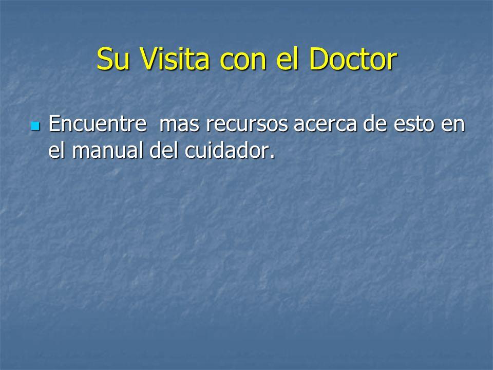 Su Visita con el Doctor Encuentre mas recursos acerca de esto en el manual del cuidador. Encuentre mas recursos acerca de esto en el manual del cuidad