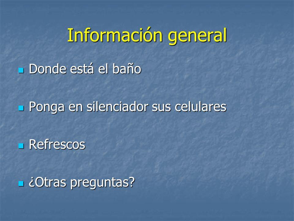 Información general Donde está el baño Donde está el baño Ponga en silenciador sus celulares Ponga en silenciador sus celulares Refrescos Refrescos ¿Otras preguntas.