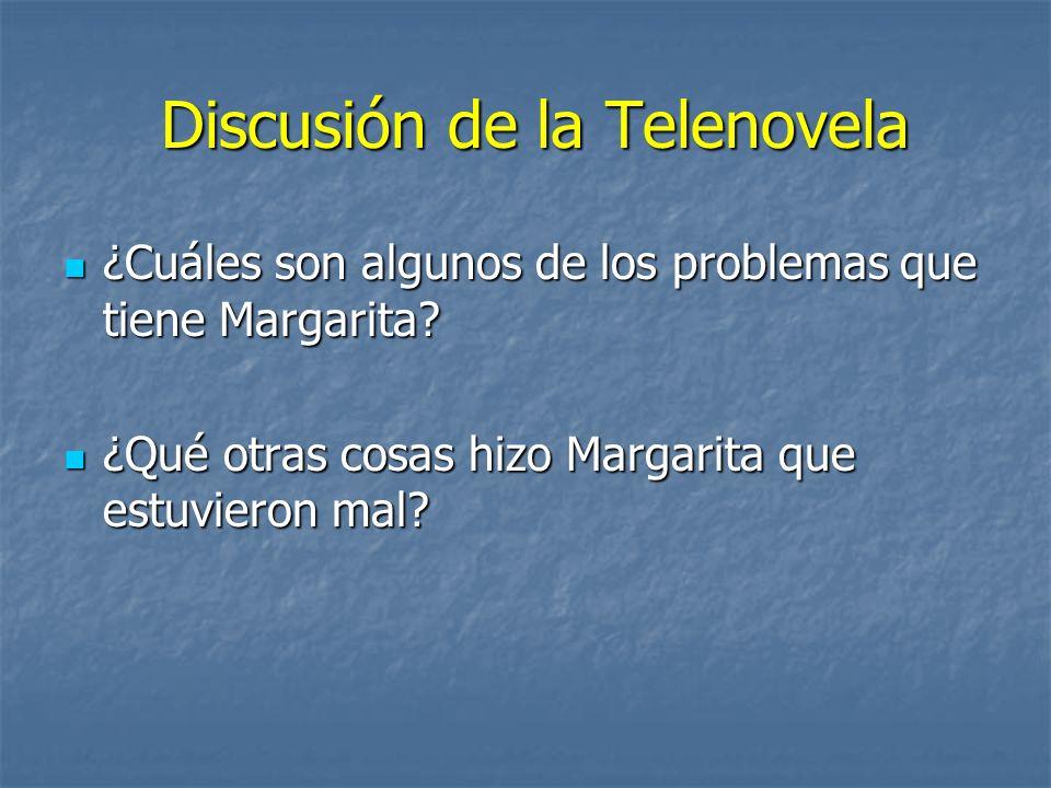 Discusión de la Telenovela Discusión de la Telenovela ¿Cuáles son algunos de los problemas que tiene Margarita? ¿Cuáles son algunos de los problemas q