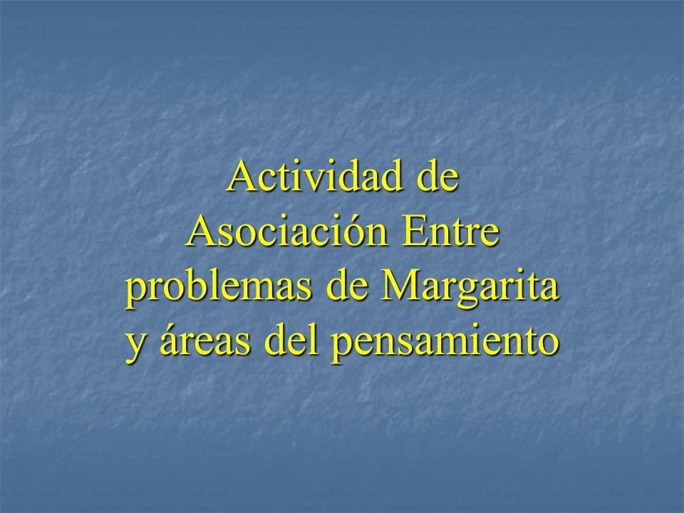 Actividad de Asociación Entre problemas de Margarita y áreas del pensamiento