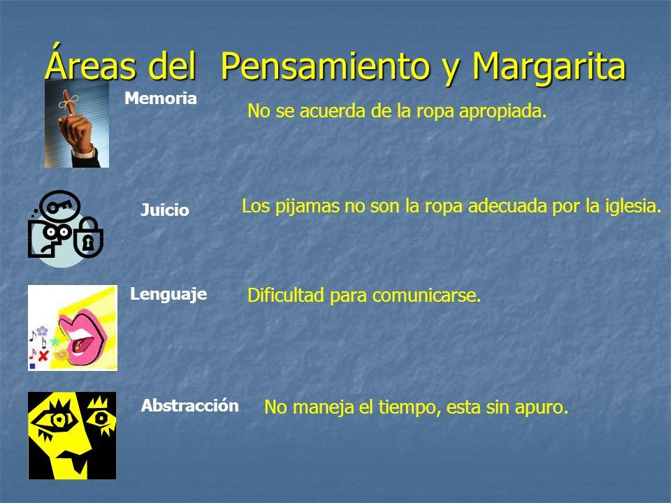 Áreas del Pensamiento y Margarita Memoria Juicio Lenguaje Abstracción No se acuerda de la ropa apropiada.