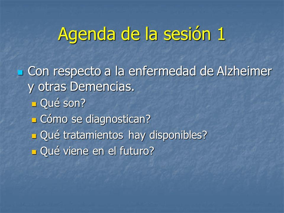 Agenda de la sesión 1 Con respecto a la enfermedad de Alzheimer y otras Demencias. Con respecto a la enfermedad de Alzheimer y otras Demencias. Qué so