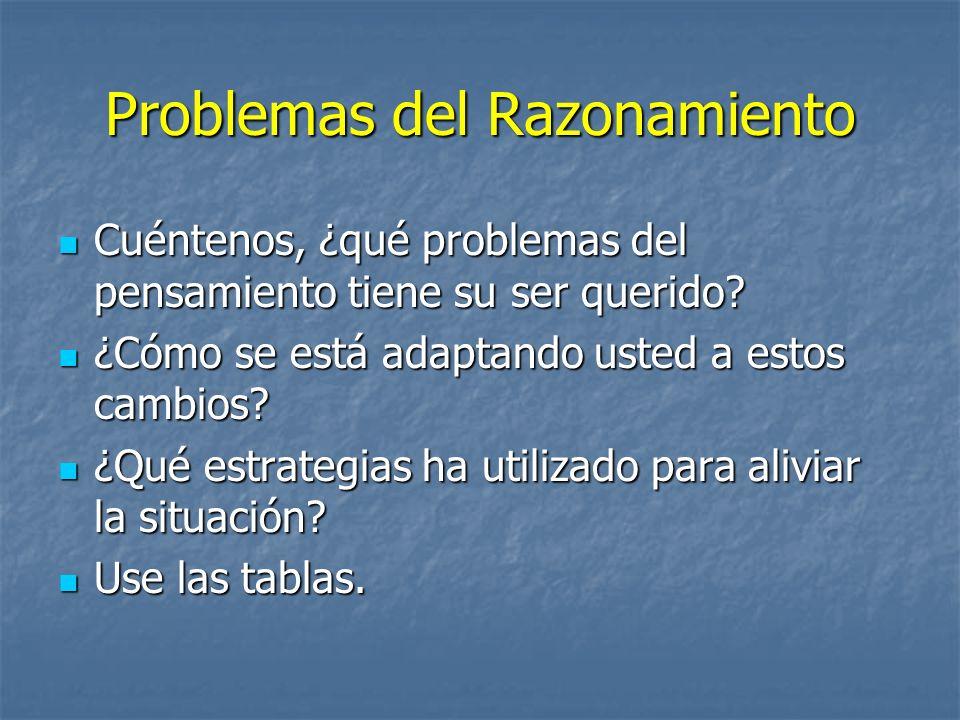Problemas del Razonamiento Cuéntenos, ¿qué problemas del pensamiento tiene su ser querido? Cuéntenos, ¿qué problemas del pensamiento tiene su ser quer