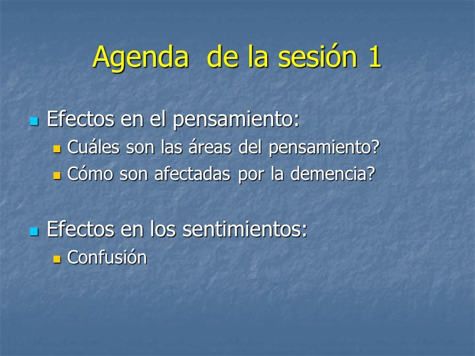Agenda de la sesión 1 Efectos en el pensamiento: Efectos en el pensamiento: Cuáles son las áreas del pensamiento? Cuáles son las áreas del pensamiento