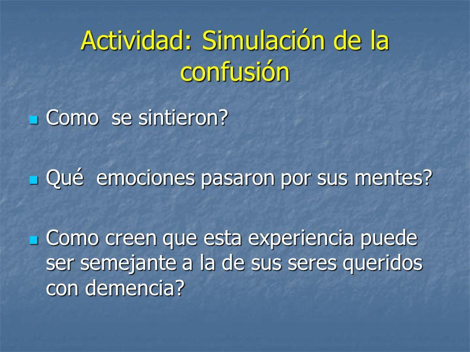 Actividad: Simulación de la confusión Como se sintieron? Como se sintieron? Qué emociones pasaron por sus mentes? Qué emociones pasaron por sus mentes