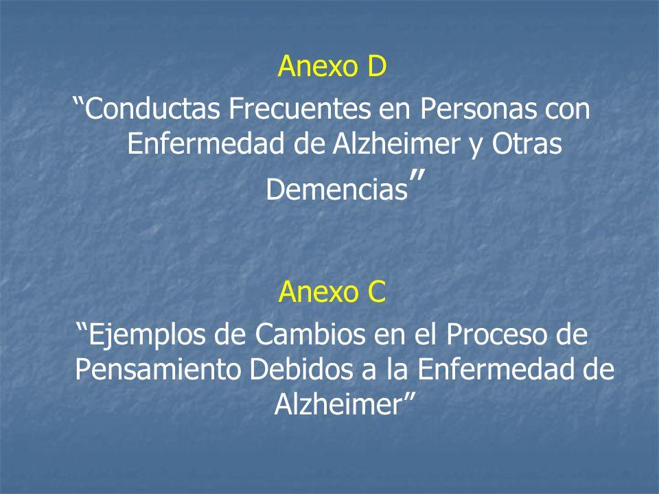 Anexo D Conductas Frecuentes en Personas con Enfermedad de Alzheimer y Otras Demencias Anexo C Ejemplos de Cambios en el Proceso de Pensamiento Debidos a la Enfermedad de Alzheimer