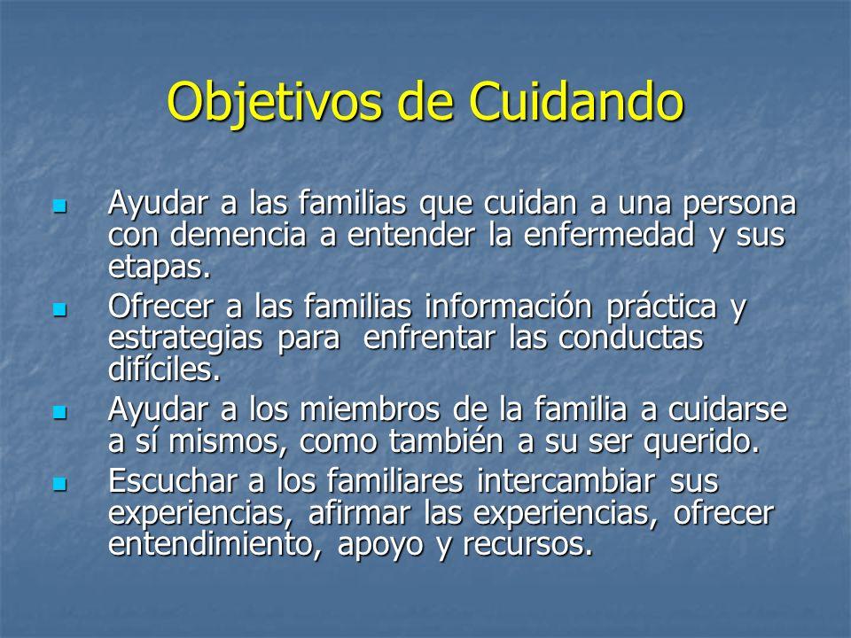 Objetivos de Cuidando Ayudar a las familias que cuidan a una persona con demencia a entender la enfermedad y sus etapas.