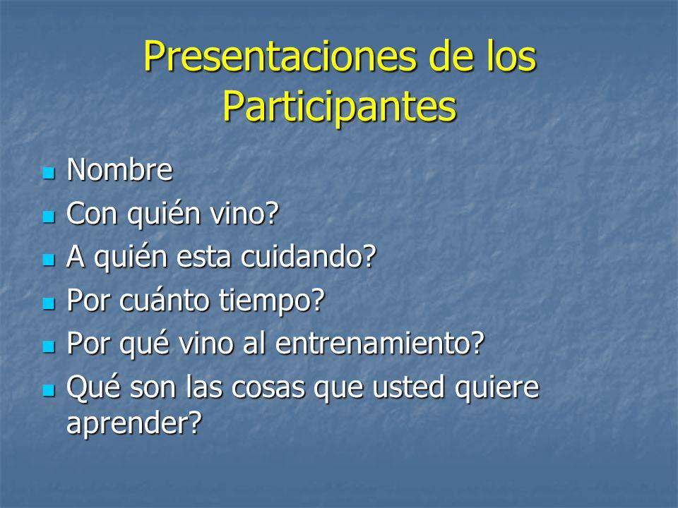 Presentaciones de los Participantes Nombre Nombre Con quién vino.