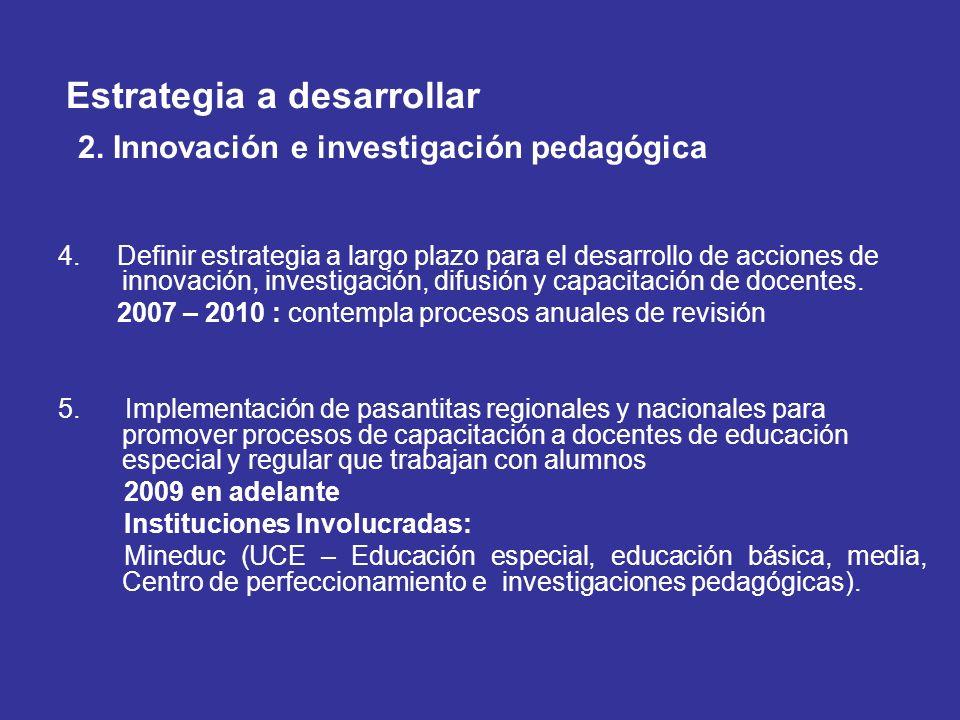 Estrategia a desarrollar 2. Innovación e investigación pedagógica 4. Definir estrategia a largo plazo para el desarrollo de acciones de innovación, in