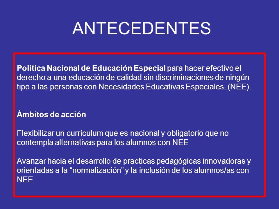ANTECEDENTES Política Nacional de Educación Especial para hacer efectivo el derecho a una educación de calidad sin discriminaciones de ningún tipo a l