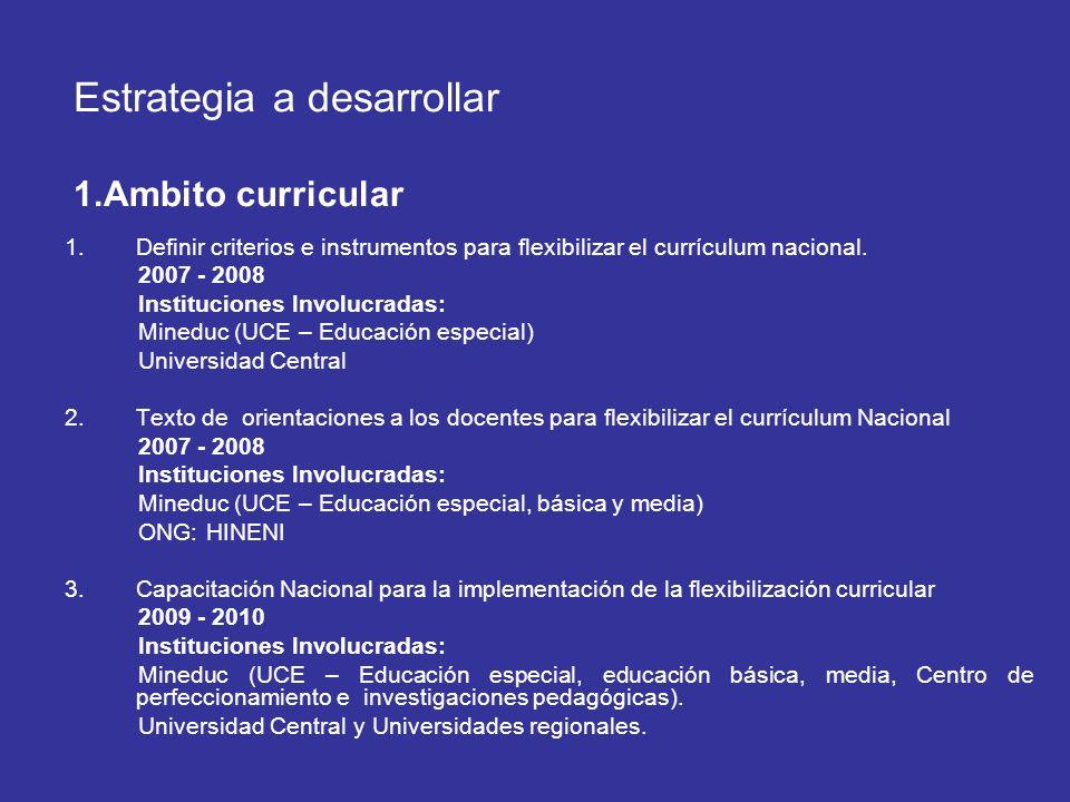 Estrategia a desarrollar 1.Ambito curricular 1.Definir criterios e instrumentos para flexibilizar el currículum nacional. 2007 - 2008 Instituciones In