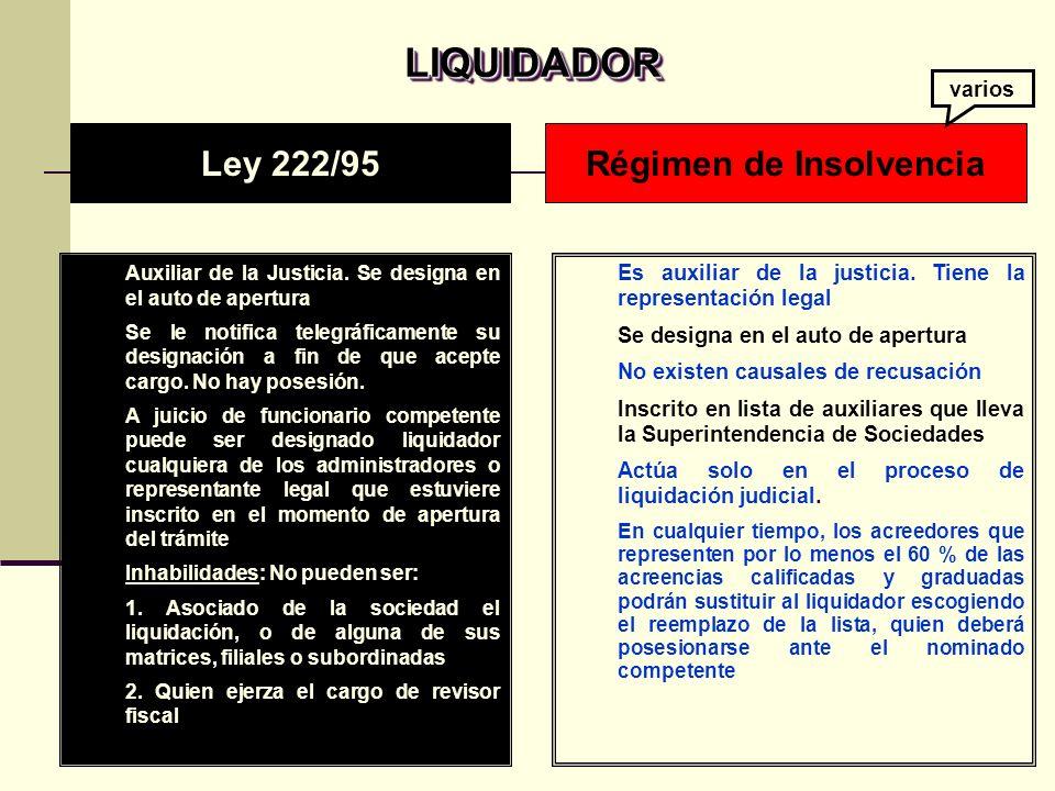 LIQUIDADOR LIQUIDADOR Auxiliar de la Justicia.