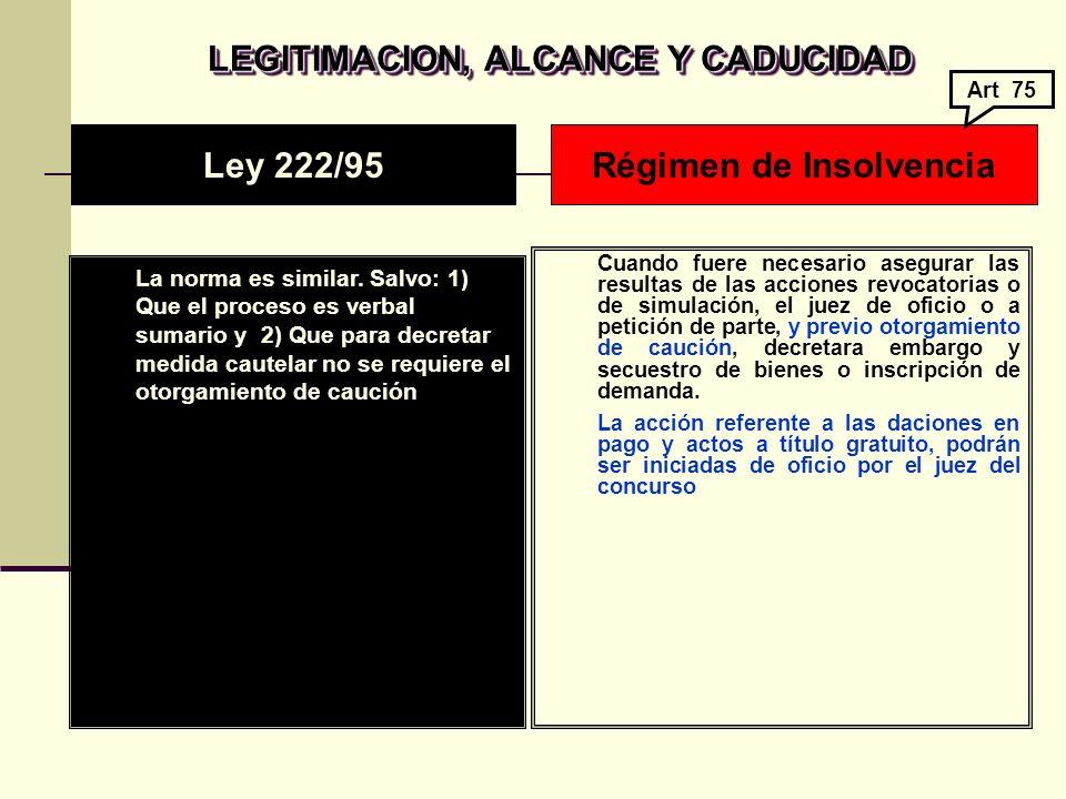 LEGITIMACION, ALCANCE Y CADUCIDAD La norma es similar.